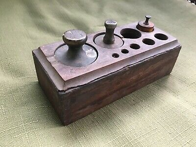 Vintage or Antique Brass Balance Scale Weights with Wooden Holder or Box