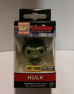 Funko Pocket Pop Keychain Hot Topic Exclusive - Avengers Age of Ultron GITD HULK