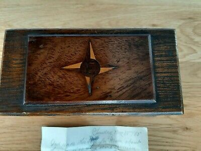 Antique Wooden Jewellery/Watch Box. Made For Wife C 1890. Letter Of Provenance.