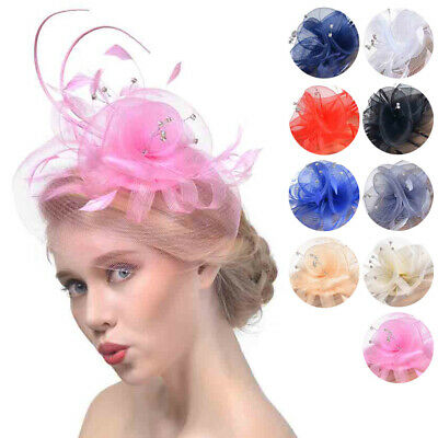 Women's Vintage Flower Feather Mesh Net Fascinator Hat Party Wedding Cocktail