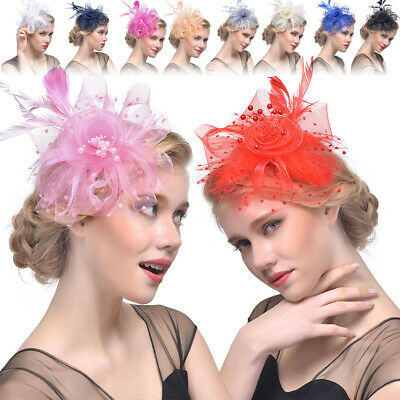 Fascinator Feather Dot Net Yarn Beaded Flower Hair Clip Bridal Party Wedding