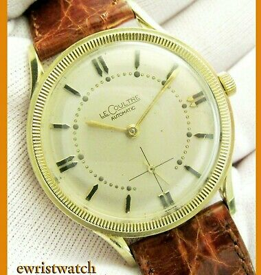 Vintage 50s LeCoultre 14K Solid Gold Coin Edge K 812 Bumper Orig Sub-Second Dial