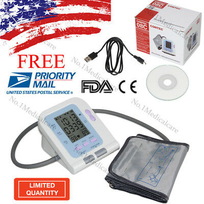 USA Warehouse, LCD Digital Blood Pressure Monitor, NIBP Adult Cuff, USB PC SW