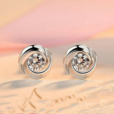 Ladies 925 Sterling Silver Swirl Stud Round Crystal Earrings CZ Cubic Zirconia