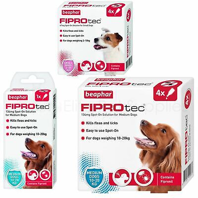 Beaphar FIPROtec Spot-On Flea Tick Treatment for Small or Medium Dogs