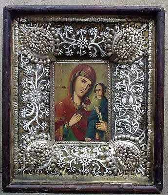 "Antique 19c Russian Orthodox Hand Painted Wood Icon ""The Vergin of Tikhvin"""