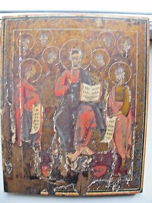 """Antique 19c Russian Orthodox Hand Painted Wood Icon ""The week"""