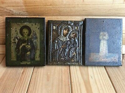 "Antique 19c Russian Orthodox Print on Metall Wood Icon ""Set of 3 icons"""