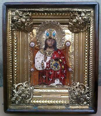 """Antique 19c Russian Orthod Hand Painted Wood Icon""""King of Glory"""""""