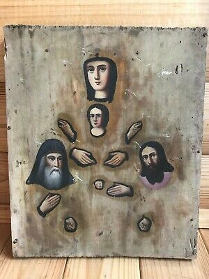 "Antique 19c Russian Orthodox Hand Painted Wood Icon ""Kiev-Pechersk Mother of  """