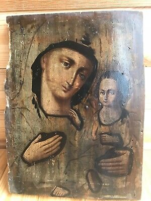 """Antique 19c Russian Orthodox Hand Painted Wood Icon """"Mother of God Tikhvin"""""""
