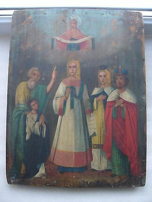 """Antique 19c Russian Orthodox Hand Painted Wood Icon """"Protection Mother of God"""""""