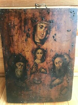 """Antique 19c Russian Orthod Hand Painted Wood Icon """"Kiev-Pechersk Mother of God"""""""
