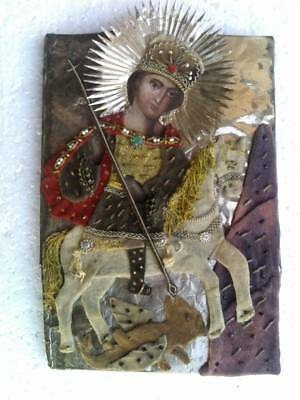"Antique 19c Russian Hand Painted  Icon""George the Victorious"""