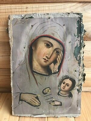 """Antique 19c Russian Orthodox Hand Painted Wood Icon """"Virgin quench sorrow"""""""