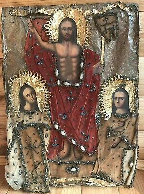 """Antique 19c Russian Orthodox Hand Painted Wood Icon""""The Resurrection of Christ"""""""