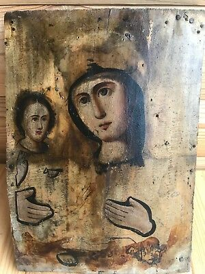 """Antique 19c Russian Orthod Hand Painted Wood Icon """"Mother of God the Right Hand"""""""