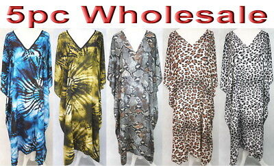 5pc Wholesale X-Large Women Summer Cotton Kaftan Boho Dress Plus Free Size Mixed