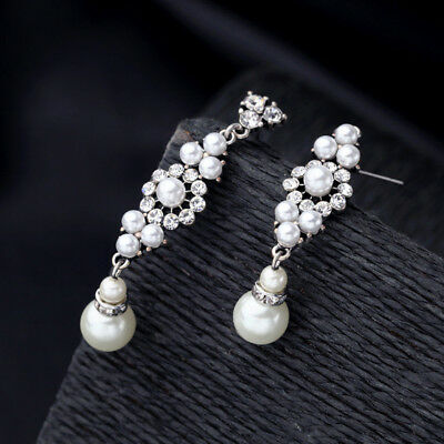 Pearl Silver Crystal Drop Earrings Vintage 1920s Hollywood Prom Bride Jewelry
