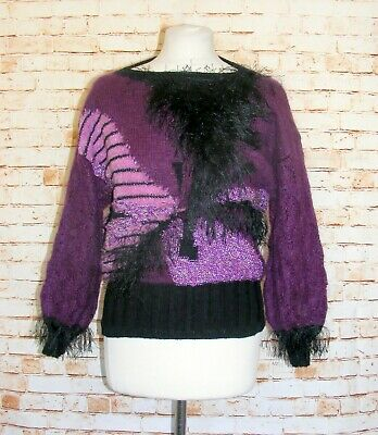 size 8-10 vintage 80s extreme mohair/eyelash jumper pattern hand knitted purple