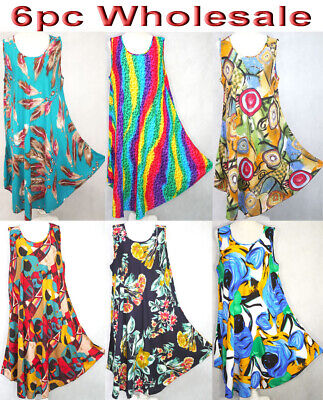 6pc Wholesale Women Summer Cotton Kaftan Caftan Boho Dress Free Size Mixed