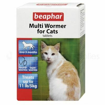 Beaphar Multi Wormer Tablets For Cats Tape Round Worming Vet Strength - 3 Doses