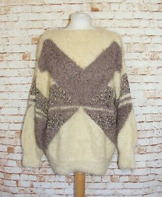 plus size 20-22 vintage 80s extreme mohair jumper tunic hand knitted cream/brown