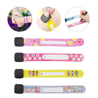 8/12X Child Safety Wrist Band Kids ID Wristband Bracelet Reuseable Party Holiday