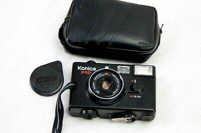 earlier Konica Pop  35mm Film Camera with 36mm Hexanon F/4 lens with case