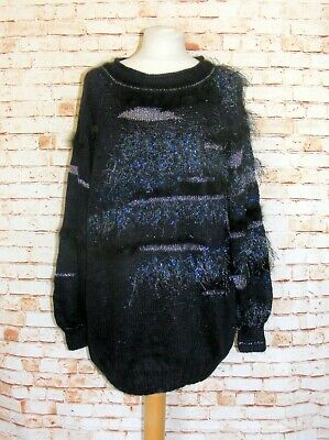 plus size 20-22 vintage 80s jumper extreme fluffy feather trim tunic black/blue