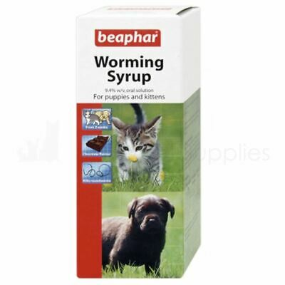 Beaphar Worming Syrup Puppy Kittens Oral Wormer Choc Flavour Treatment 45ml
