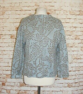 size 16-18 vintage 90s Japanese pattern jumper high neck sparkly baby blue/taupe