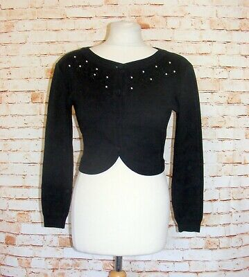 size 14 vintage 90s Japanese bolero cardigan crop floral embroidery pearls black