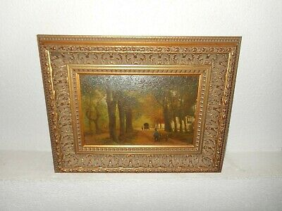 Old oil painting,{ Road through the woods, is signed, nice frame  }.