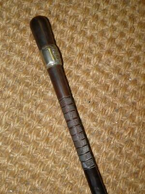 Antique Repousse Nickel Silver Ebony Hand Carved Ladies Walking Stick/Cane