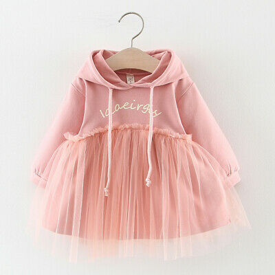 Toddler Baby Kids Girls Ruched Letter Tulle Patchwork Hooded Sweatshirt Dress