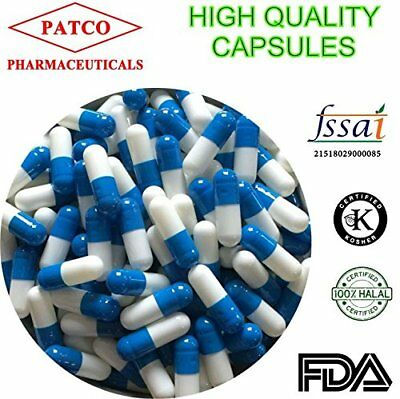 Patco Pharmaceuticals Empty Blue/White Gelatin Capsules Size 0-1000 Pieces