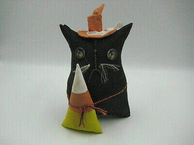 Primitive Witch Cat with Candy Corn Halloween Shelf Sitter