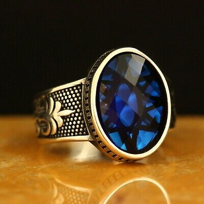 Details about  /Oval Sapphire Mens RingTurkish Handmade Jewelry 925 Sterling Silver Size 7-12