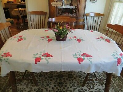 """Vtg.50'S-60'S Era  Wilendur Red Floral Cotton Tablecloth Beautiful! 51""""By 63"""""""