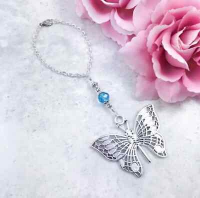 Butterfly Hanging Charm, Blue Butterfly Car Charm, Rearview Mirror Grab Handle