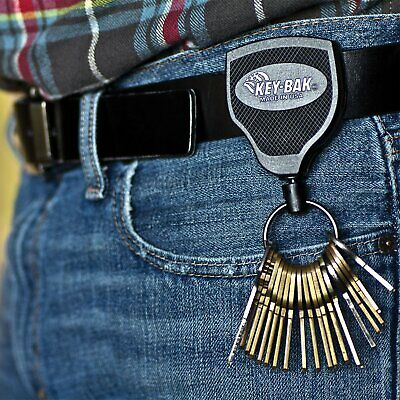 Heavy Duty Retractable Key Chain Badge Holder Locking Steel Belt Clip Split Ring