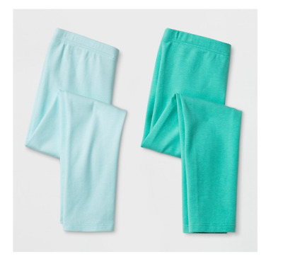 Cat & Jack Toddler Girls 2pk Leggings Pants Aqua and Green Size 4T NWT
