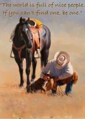 Horse and cowboy The world is full...refrigerator magnet 2x3