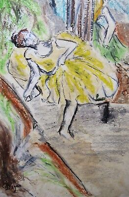 Unique charcoal and pastel drawing on paper, ballerina, signed Edgar DEGAS