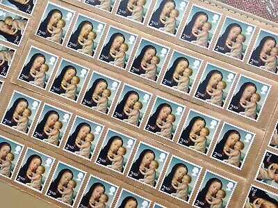 50 X 2Nd Class Unfranked Stamps Self Adhesive Easy Peel F/V £30.50