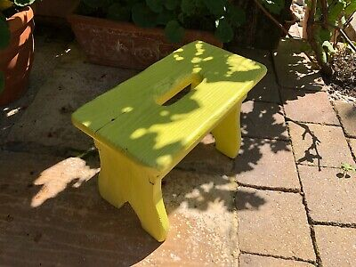 Vintage Small Wooden Foot Stool Milking stool painted yellow