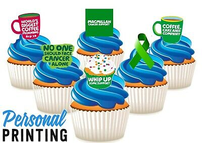 Macmillan Coffee Morning 6 Mix Edible Stand Up Wafer Cake Toppers Ribbon Charity