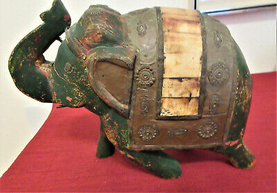 Vintage Large Heavy Solid Wood Elephant Hand Painted India