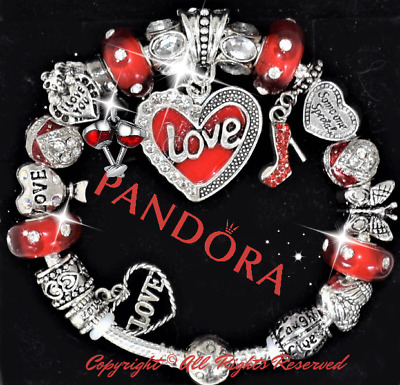 Authentic Pandora Bracelet Silver Red VALENTINE HEART with European Charms NEW
